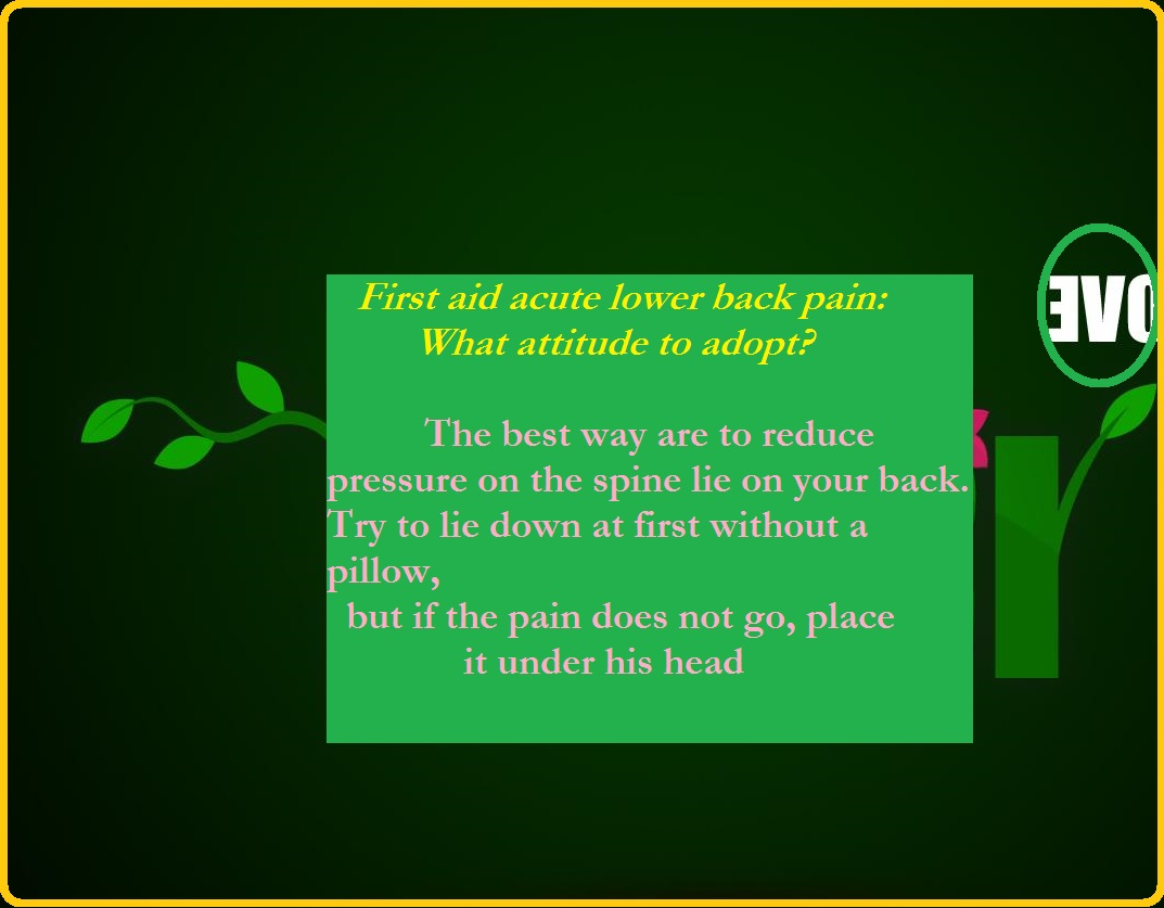 First aid acute lower back pain